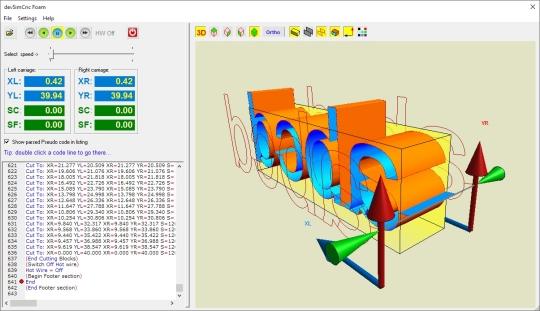 DevSim Cnc Foam, application to simulate on Screen a hot ... on